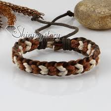 bracelet wristband images Genuine leather waxed cotton cord woven wristbands adjustable jpg