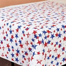white and blue plastic tablecloth roll 100 patriotic