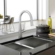 pewter hansgrohe metro higharc kitchen faucet single two