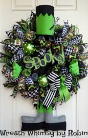 xl halloween frankenstein deco mesh wreath fall wreath halloween