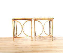 Rattan Accent Table Vintage Bamboo Tables Boho Bentwood Rattan Woven Side Tables