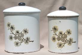 tin kitchen canisters rustic pinecones pattern tins vintage tin kitchen canisters w