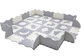 Interlocking Foam Floor Tiles Amazon Com Baby Play Mat With Fence Superjare Thick 9 16