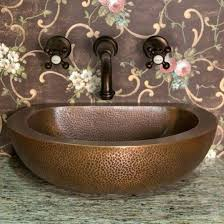 copper vessel sink with wall mounted faucet bathroom copper