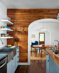 trendy kitchen wall trim come with brown wooden wall panels and