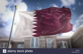 Picture Of Qatar Flag Qatar Flag 3d Rendering On Blue Sky Building Background Stock
