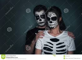 sugar halloween costume couple in love with sugar skull face art stock photo image 44754787