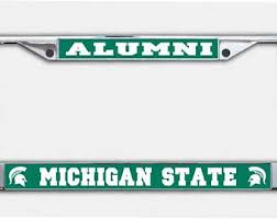 msu alumni license plate frame spartan license etsy