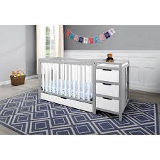 Gray Convertible Cribs by Graco Remi 4 In 1 Convertible Crib And Changer White Pebble Grey