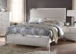 Queen Bed Voeville Ii Modern Platinum Mdf Mirror Queen Bed Bedrooms The