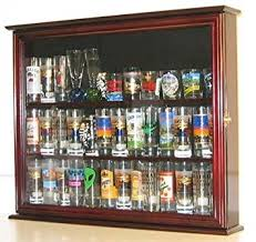 Wall Mounted Cabinet With Glass Doors Amazon Com Wall Mounted Curio Cabinet Sports Shot Glass Display