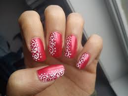 easy valentines day red and white nail art design youtube simple