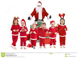 santa claus costume for toddlers santa claus with happy little children in costume stock images