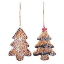 gingerbread tree shaped decorations hanging ornaments 1