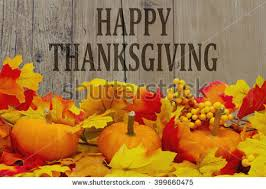 happy thanksgiving message autumn leaves grunge stock photo