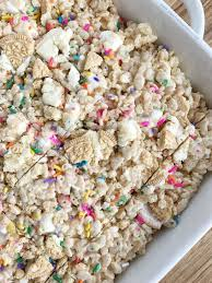 golden oreo funfetti rice krispie treats together as family