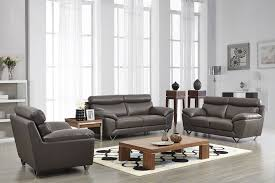 Contemporary Stylish Leather Pc Sofa Set With Chrome Legs Chicago - Leather sofas chicago