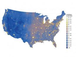 A Map The United States by Map Of The Quietest And Loudest Places In The United States