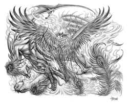 grey dragon and phoenix tattoos design real photo pictures