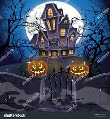 halloween house flags happy halloween cozy haunted house behind stock vector 114750118