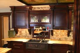 classic french kitchen design dark brown ceiling wall night