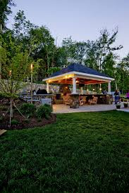 backyard pavilion plans patio traditional with bench seating