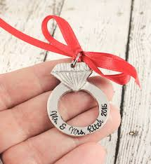 first christmas as mr and mrs ornament newlyweds silver ring