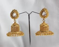 gold jhumka earrings design jhumka earrings etsy