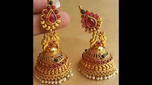 gold earrings for marriage 22k gold jhumka earrings collections fancy jhumka
