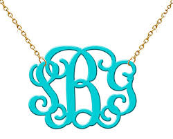 acrylic monogram necklace monogram acrylic necklace turquoise on luulla