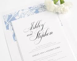 wedding invitations blue calligraphy wedding invitations in serenity blue wedding invitations