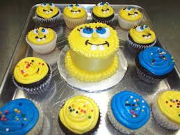 spongebob mini smash cake with matching cupcakes created by the