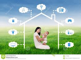 Smart House Design Mother And Baby Sit Under Smart House Design Stock Illustration