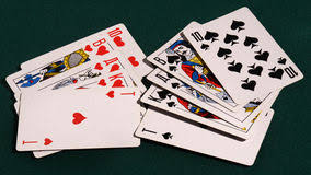 cards on the table royal flush of playing cards on the table stock image image of