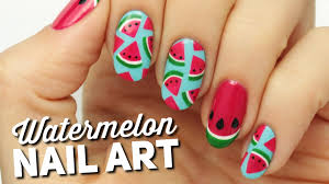 cute watermelon slice nail art youtube