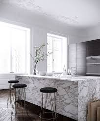 marble island kitchen 32 trendy and chic waterfall countertop ideas digsdigs