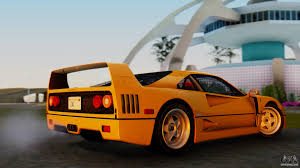 orange ferrari ferrari f40 1987 without up lights for gta san andreas