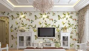 neoclassical living room tv wall wallpaper interior design