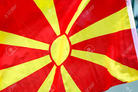 Macedonian Flag Republic Of Macedonia National Flag Golden Sun Over Red Stock