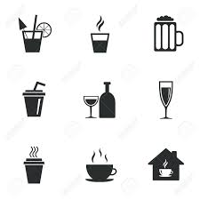 cocktail icon vector tea coffee and beer icons beer wine and cocktail signs take