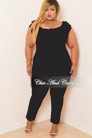 plus jumpsuit plus size jumpsuit with top ruffles in black chic and curvy