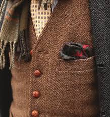 sherlock holmes herringbone tweed vest pocket square wool scarf