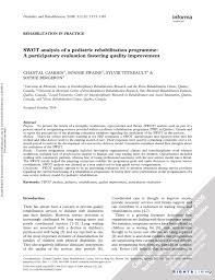 swot analysis of a pediatric rehabilitation programme a