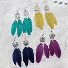 feather earrings s aliexpress buy feather earrings sunflowers enamel