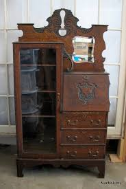 Jewelry Armoire Vintage Oak Art Nouveau Desk With Glass Secretary Cabinet Circa 1900