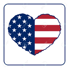 Design Of American Flag American Flag Heart Shaped Icon On White Background Usa Emblem