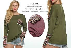 style blouse pogtmm s sleeve o neck patchwork casual t shirts