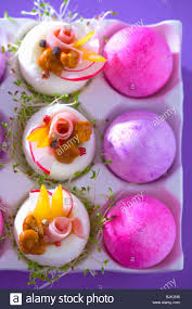 stuffed easter eggs boiled eggs stuffed with ham mushrooms peppers cress easter