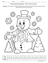 solving equations winter holiday coloring activity