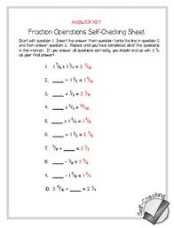fraction operations self checking worksheet free by math in the